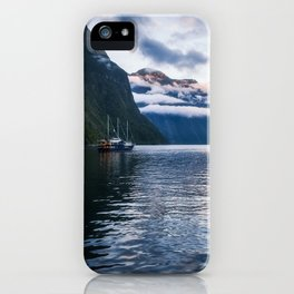 Milford Sound over night cruise at beautiful Harrison Cove iPhone Case