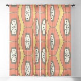Midcentury Funky Chain Orange Sheer Curtain