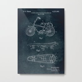 1980 - Combination cycle seat-skateboard patent art Metal Print