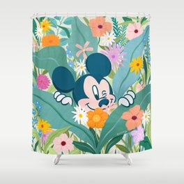 """""""Mickey Mouse in Flower Garden"""" by Sun Lee Shower Curtain"""