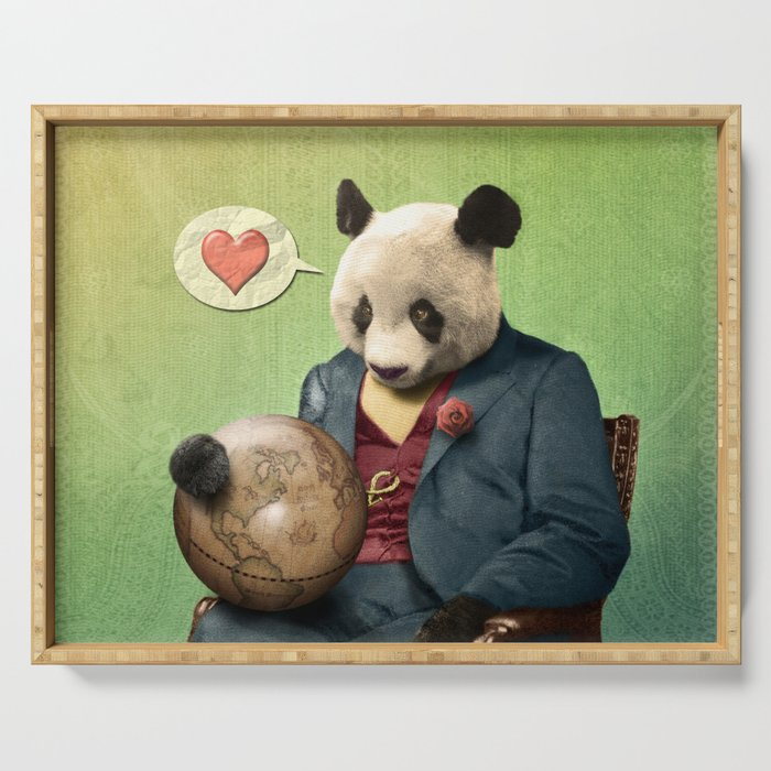 Wise Panda: Love Makes the World Go Around! Serving Tray