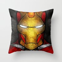 mandie manzano Throw Pillows featuring The Iron Man by Mandie Manzano