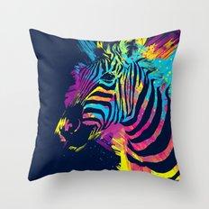Zebra Splatters Colorful Animals Throw Pillow