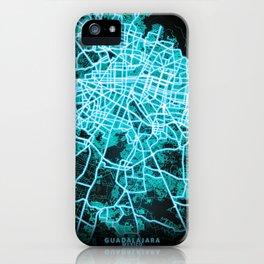 Guadalajara, Mexico, Blue, White, Neon, Glow, City, Map iPhone Case