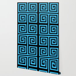 Graphic Geometric Pattern Minimal 2 Tone Zig-Zag Swirl (Blue Teal & Black) Wallpaper