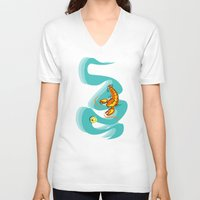lobster V-neck T-shirts featuring Rock Lobster by Moirarae