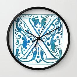Letter X Elegant Vintage Floral Letterpress Monogram Wall Clock