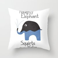 Naughty Elephant Squirts Water. Throw Pillow