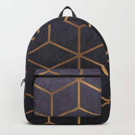 Dark Purple and Gold - Geometric Textured Gradient Cube Design Backpack