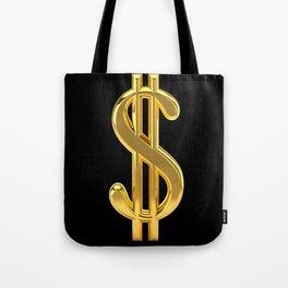 Gold Dollar Sign Black Background Tote Bag