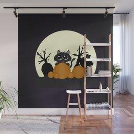 Halloween Black Cat with Pumpkins in a Graveyard Wall Mural