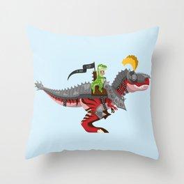 Dino Knight T-Rex II Throw Pillow
