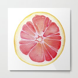 Grapefruit Watercolor Metal Print