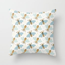 Cute Honey Bee Pattern - Save The Bees Throw Pillow