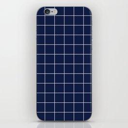 Indigo Navy Blue Grid iPhone Skin