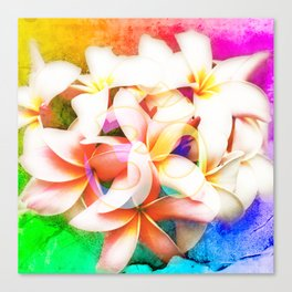 Yoga Om Frangipani Pagoda Flower Canvas Print