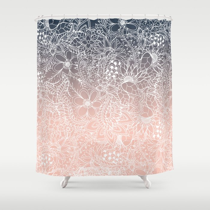 Navy Blue Pastel Peach Ombre Gradient White Floral Pattern Shower Curtain
