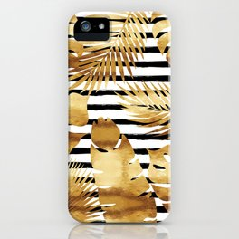 Tropical Leaves & Stripes - Black iPhone Case