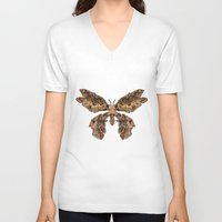 moth V-neck T-shirts featuring moth by Marie Lisborg