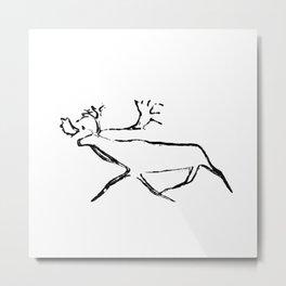 Ewenk deer carved on wood Metal Print