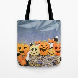 foxes, jack o'lanterns, and ghost clouds Tote Bag