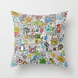 Comic Pop art Doodle Throw Pillow