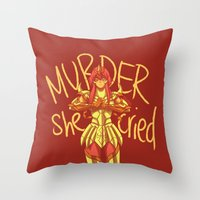 dramatical murder Throw Pillows featuring MURDER by El Cadejos