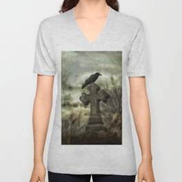 Gothic Crow Perched On A Old Cross Unisex V-Neck