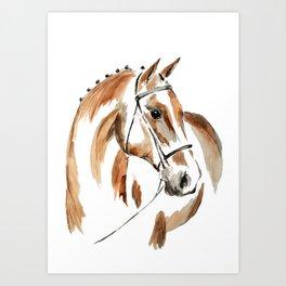 Bay Watercolour Horse Art Print