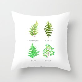 fern collection watercolor Throw Pillow
