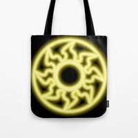 magic the gathering Tote Bags featuring Magic the Gathering, Neon White Mana by Thorn Blackstar