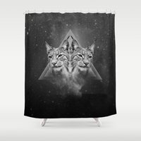 outer space Shower Curtains featuring Queen of outer space by Pia Isaksen