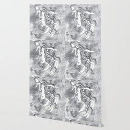 Butterflies in a gray abstract landscape Wallpaper