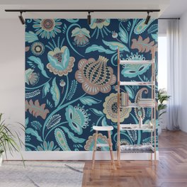 Colorful folk flowers blue background Wall Mural