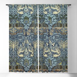 Woven woollen fabric Peacock and Dragon by William Morris Blackout Curtain