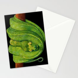 Green Tree Python Stationery Cards