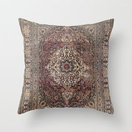 Antique Persia Doroksh Old Century Authentic Dusty Dull Blue Gray Green Vintage Rug Pattern Throw Pillow