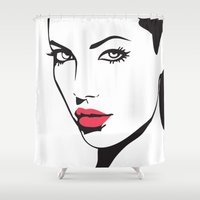 angelina jolie Shower Curtains featuring Angelina Jolie by Tamsin Lucie