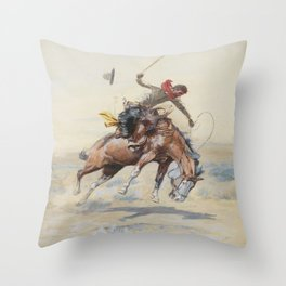 C.M. Russell The Bucker Vintage Western Art Throw Pillow
