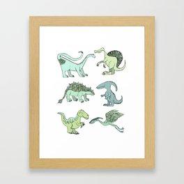 Happy dinosaur Framed Art Print