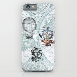 Hot Air Balloons on Antique Map - blue iPhone Case
