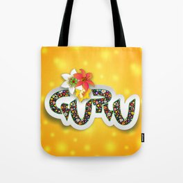 Guru Spiritual Floral Text Design Tote Bag