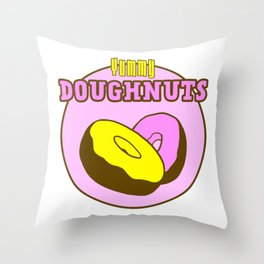 Vintage Yummy Doughnuts Retro Donuts Design Throw Pillow