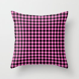 Classic Pink Country Cottage Summer Buffalo Plaid Throw Pillow