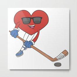 Ice Hockey Heart Love Married Couples Metal Print