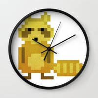 racoon Wall Clocks featuring Pixel Racoon by Olivier Boisseau