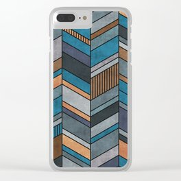 Abstract chevron pattern - blue, grey, brown Clear iPhone Case