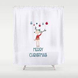 Christmas Reindeer in A Wool Hat and Ugly Sweater Shower Curtain