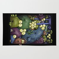 aliens Area & Throw Rugs featuring Crowded Aliens by Billy Allison