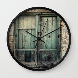 Old Green Door Wall Clock